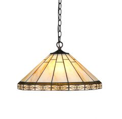 BELLE 18 Inch 2-Light Tiffany Style Mission Hanging Pendant, CH31315MI18-DH2