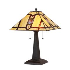 LAWRENCE 16 Inch 2-Light Tiffany Style Mission Table Lamp, CH35521PM16-TL2