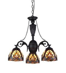 LIAISON 21 Inch 3-Light Tiffany Style Victorian Mini Chandelier, CH33367IV21-DC3