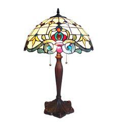 MARGOT 16 Inch 2-Light Victorian Tiffany Style Table Lamp, CH18806IV16-TL2