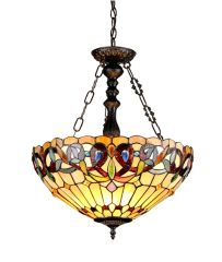 SERENITY 18 Inch 3-Light Tiffany Style Inverted Victorian Ceiling Pendant, CH33353VR18-UH3
