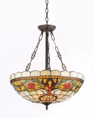 BERLEENA 20 Inch 3-Light Tiffany Style Inverted Victorian Ceiling Pendant, CH31885VT20-UH3