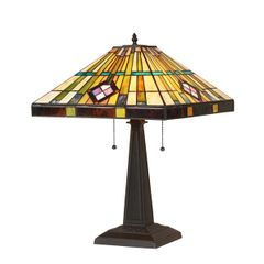 MARTIN 16 Inch 2-Light Tiffany Style Mission Table Lamp, CH35549BM16-TL2