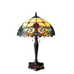 DULCE 16 Inch 2-Light Victorian Tiffany Style Table Lamp, CH18767IV16-TL2