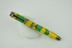Graduate postable fountain pen, green yellow, gun metal