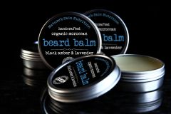 Black Amber and Lavender Beard Balm, 2 oz. Vegan. Organic Ingredients. Cruelty Free.