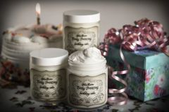 Organic Birthday Cake Shea Butter Body Frosting, 4 oz glass jar
