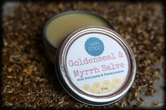 All Natural Goldenseal and Myrrh Salve, 2 oz. Organic Ingredients. Vegan. Cruelty Free.