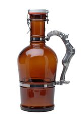 #510 Drunken Man Handle Amber Glass
