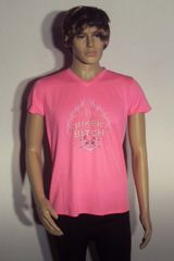 Ladies large New Balance tee in safety pink with rinestone transfer