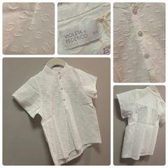 Violeta & Federico White Waffle Shirt Size:18M