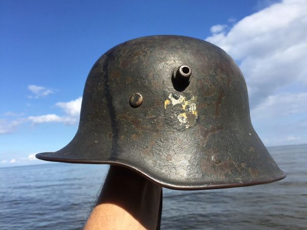 WW1 German WW2 Rare TRANSITIONAL WWII Helmet WWI Trench Part Liner &  Chinstrap Nazi _Partial Original Decal