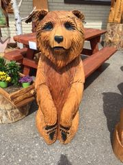 "Toste Hand Carved Sitting Bear 48"" X 17"""
