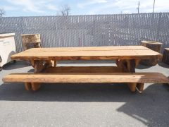 8' Dual Slab Pine Picnic Table (attached benches)