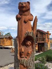 Hand Carved Toste 2D Elm Standing Bear