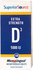 """Vitamin D3"" 5,000 IU (100 D-3 sublingual instant dissolve microtabs) by Superior Source $11.99"