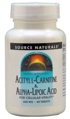 """Acetyl L-Carnitine and Alpha-Lipoic Acid"" 500 mg (60 Tablets) by Source Naturals $23.50"