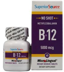 """B12"" No Shot Methylcobalamin 5000 mcg (60 Tabs) Superior Source $24.99"