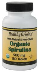 """Spirulina""- Organic 500 mg (180 Tablets) by Healthy Origins Special - $10.99"
