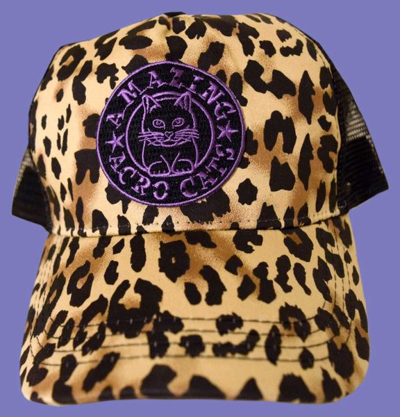 8c54976a2e7 Trucker-Style Cheetah-Print Acro-Cap with Purple or Gray logo ...