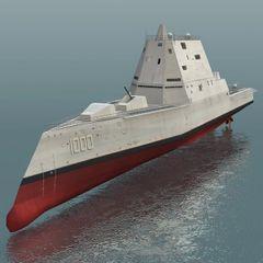 """1:96 75"""" DDG-1000 USS Zumwalt Guided Missile Destroyer"""