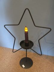 Star Metal Candle Holder W/Candle
