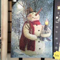 Lighted LED Woodland Snowman Canvas