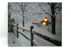 LED Lighted Fence W/Winter Scene