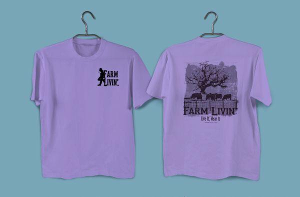 Violet T-shirt/ B&W Cattle Design