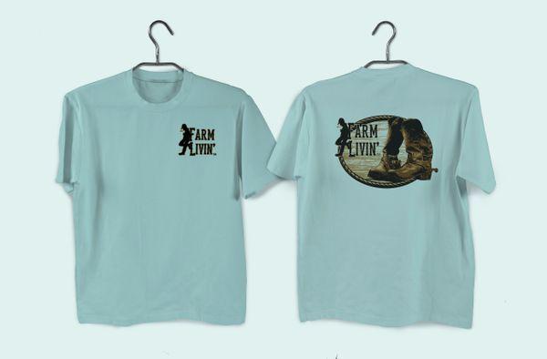 Island Reef Green Short Sleeve Shirt/ Boot Design