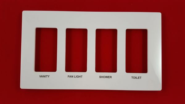 Lutron 4 Gang Screwless Trim Plate with Custom Etched Text, Assorted Colors