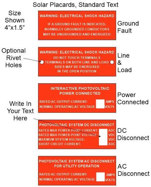 "Solar Placard, Standard Text, 4"" Wide"