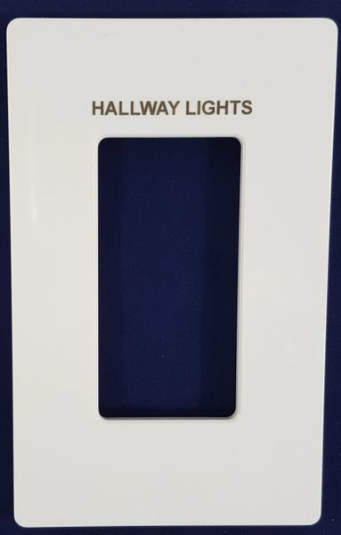 Lutron 1 Gang Screwless Trim Plate with Custom Etched Text, Assorted Colors