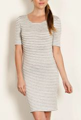 The Leila Stripe Knit Sheath Dress- Heather Grey
