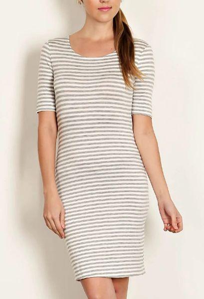 The Leila Stripe Knit Sheath Dress- Heather Grey