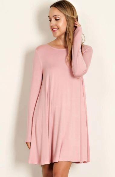 Scoop Neck Swing Dress- Blush