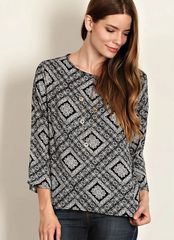 Gabrielle Geo Print Scoop Neck Top- Black/White