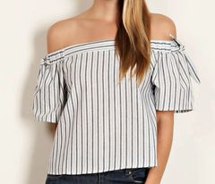 The Oceanic Off the Shoulder Self-tie Crop Top