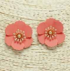 Accessory- Barbados Floral Earrings in Coral