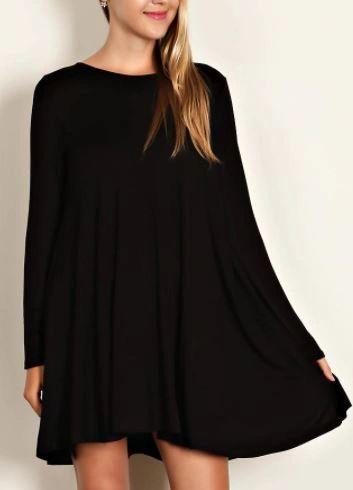 Scoop Neck Swing Dress- Black