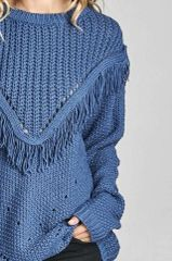 Zuna Alanna Cable Knit Fringe Sweater