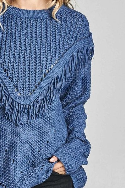 Alanna Cable Knit Fringe Sweater