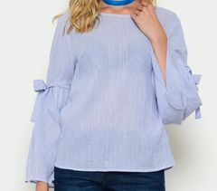 The Parisian Bell Sleeve Top with Self-Ties- Slate Blue