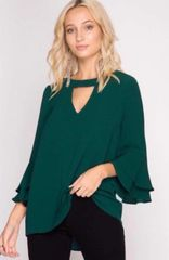 Kate Choker Top with Bell Sleeves - Sizes S-2XL