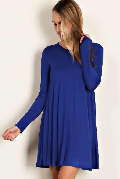 Scoop Neck Swing Dress- Cobalt