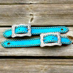 "TURQUOISE OSTRICH BELT STYLE SPUR STRAP W/1.25"" WESTERN STYLE BUCKLE"