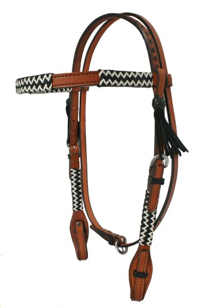 ALAMO CHEVRON BLACK/WHITE RAWHIDE BRAIDED HEADSTALL