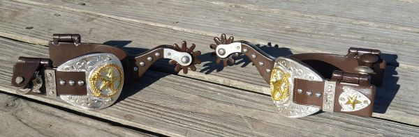 Gold buckle fancy adult spurs