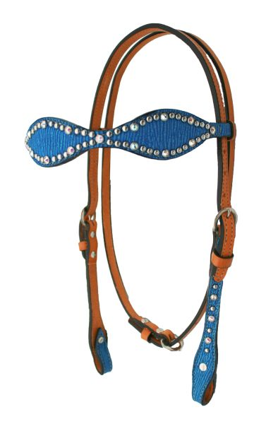 ALAMO ROYAL BLUE SHARK SCALLOPED HEADSTALL