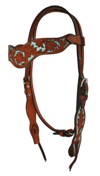 ALAMO FLORAL TOOLED HEADSTALL W/ TURQ BACKGROUND PAINT